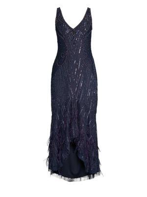 PARKER BLACK SYDNEY BEADED HIGH-LOW GOWN DRESS W/ FEATHER HEM