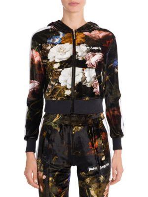 Floral Velvet Hoodie Track Jacket