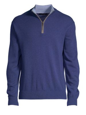GREYSON Sebonack Wool & Cashmere Quarter-Zip Sweater