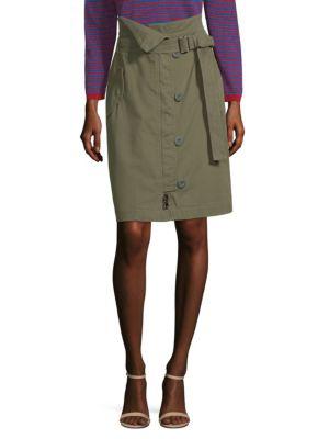 Virtus Zip Front Military Pencil Skirt