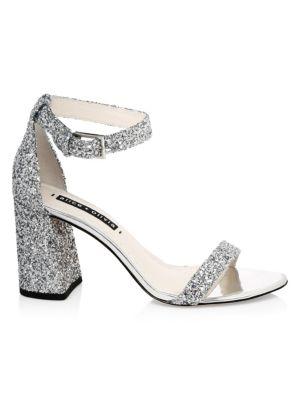 Lillian Glitter Leather Ankle-Strap Heels