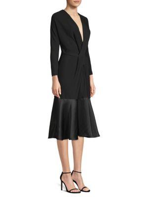 Satin Hem V-Neck A-Line Dress