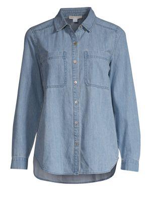 Organic Cotton Denim Button-Down Shirt