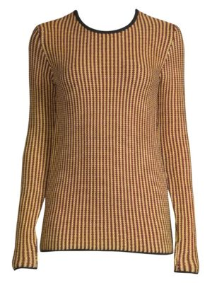Stripe-Knit Wool Sweater