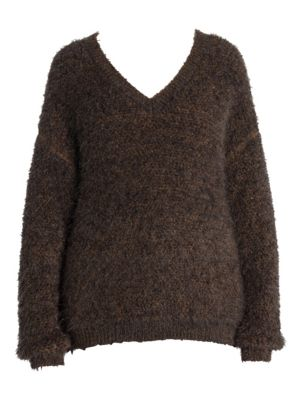 Pulled Mohair V-Neck Sweater