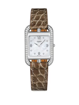 Cape Cod Stainless Steel Alligator Leather Diamonds Square Watch