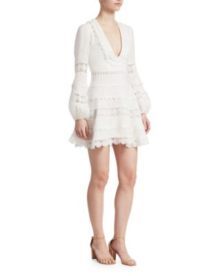 Embroidered Lace Linen Plunge Dress by Zimmermann