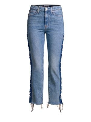 High-Rise Lace-Up Jeans
