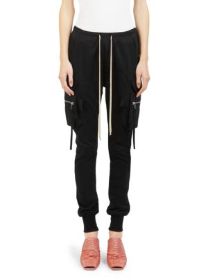 BLACK SLIM-LEG JERSEY CARGO TROUSERS