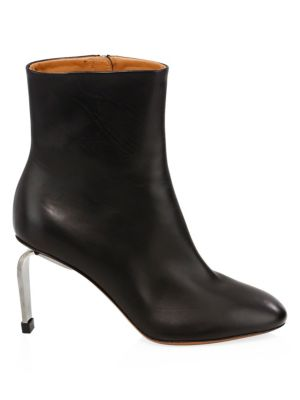Leather Curve Heel Ankle Boots