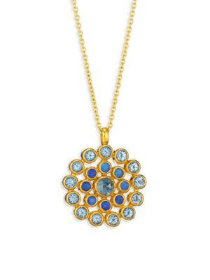 GURHAN Juju Opal, Blue Topaz, 22K Yellow Gold, 24K Yellow Gold & 18K Yellow Gold Evil Eye Pendant Necklace