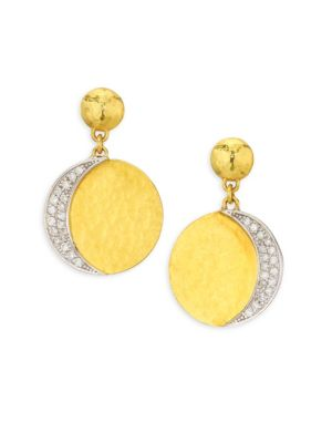 Mango Pavé Diamond 24K Yellow Gold & 18K White GoldDropEarrings