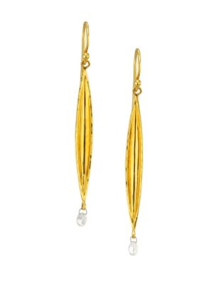 Wheat Diamond Briolette & 22K Gold Drop Earrings