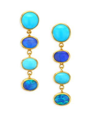 GURHAN Amulet Hue 24K Gold, Turquoise & Opal Long Drop Earrings