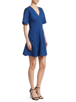 Cotton Pique Fit-And-Flare Dress