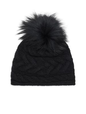 PORTOLANO Cable Knit Fox Fur Pompom Hat