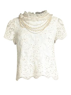 Sarina Embellished Crochet Lace Top