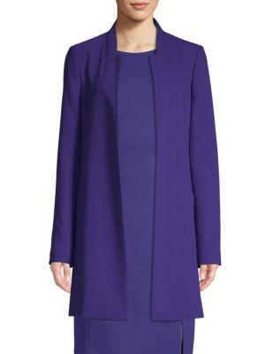 Celasa Textured Crepe Collarless Coat