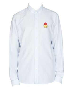 Long Sleeve Smile Patch Button Down Shirt