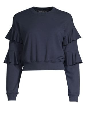 GENERATION LOVE Georgia Ruffled Cropped Sweatshirt