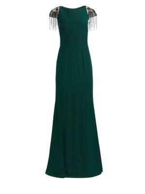 DAVID MEISTER Cap Sleeve High-Slit Gown