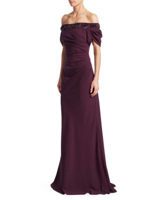DAVID MEISTER OFF-THE-SHOULDER CREPE GOWN W/ BEADED TRIM
