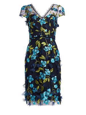 Cap Sleeve 3D Floral Sheath Dress