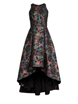 SLEEVELESS JEWEL-NECK FLORAL-JACQUARD HIGH-LOW FORMAL GOWN DRESS