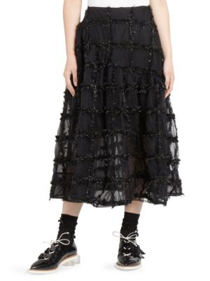 Check Trim Tulle Skirt