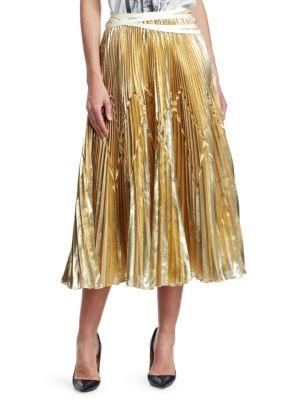 TRE BY NATALIE RATABESI Imelda Metallic Pleated Midi Skirt