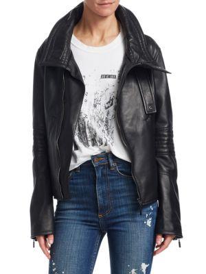 TRE BY NATALIE RATABESI Stella Leather Moto Jacket