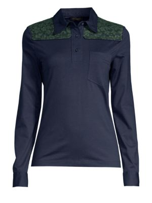Lace Polo Neck Jersey Top