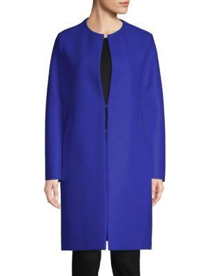 Virgin Wool Collarless Coat