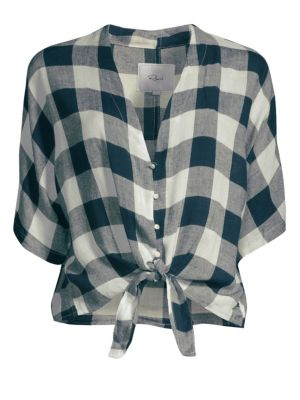 Thea Check Tie-Front Top