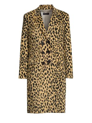 Animal Print Double Breasted Coat