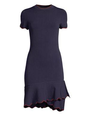 SHOSHANNA Pine Asymmetrical Flounce Sheath Dress