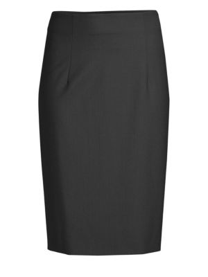 PIAZZA SEMPIONE Stretch Wool Pencil Skirt in Black