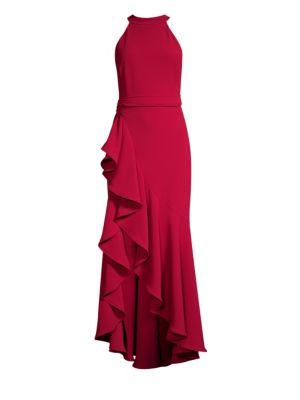 SHOSHANNA Kaori Ruffle High-Low Gown