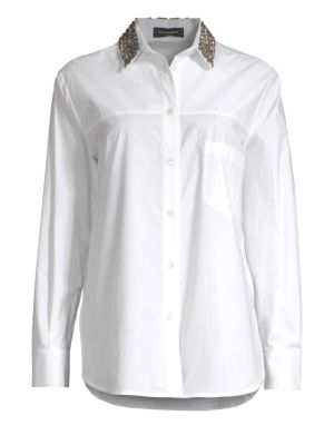 Embellished Collar Button Down Shirt