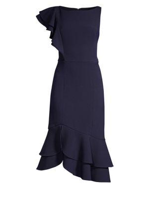 SHOSHANNA Amurra Asymmetrical Ruffle Midi Dress