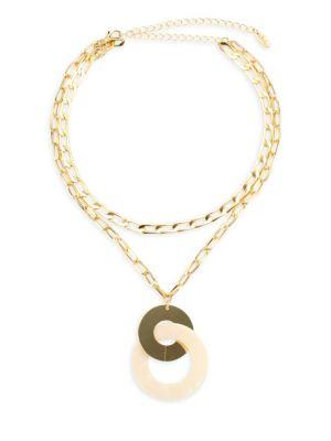 ETTIKA 18K Goldplated Double Chain Pendant Necklace