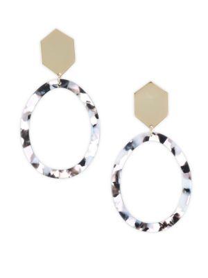 ETTIKA 18K Goldplated Black Marble Resin Statement Earrings