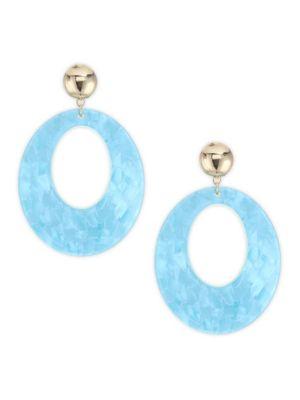 ETTIKA 18K Goldplated Large Aqua Hoop Earrings