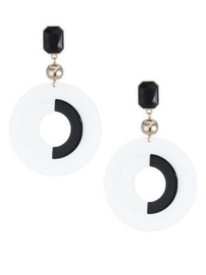 18K Goldplated Black & White Statement Earrings