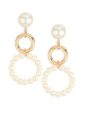 ETTIKA Faux Pearl Double Hoop Earrings