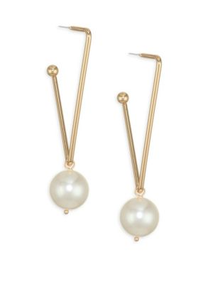 ETTIKA | Faux Pearl & 18K Gold-Plated Triangle Earrings | Goxip