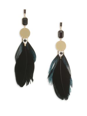 ETTIKA Feather and Disc Statement Earrings