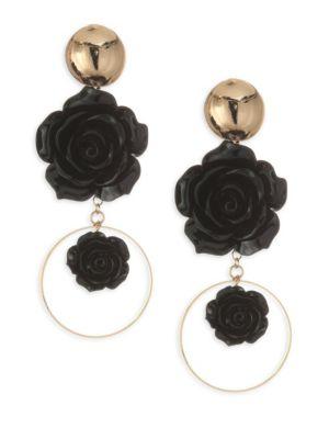 ETTIKA Rose 18K Gold-Plated Drop Hoop Earrings