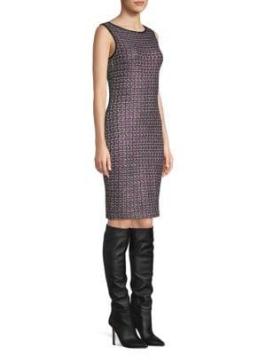 Painterly Tweed Sheath Dress