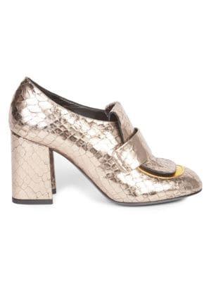 DRIES VAN NOTEN Metallic Heeled Loafers